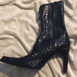 Alternative Shoes - Italian Leather Basket Weave Ankle Boots